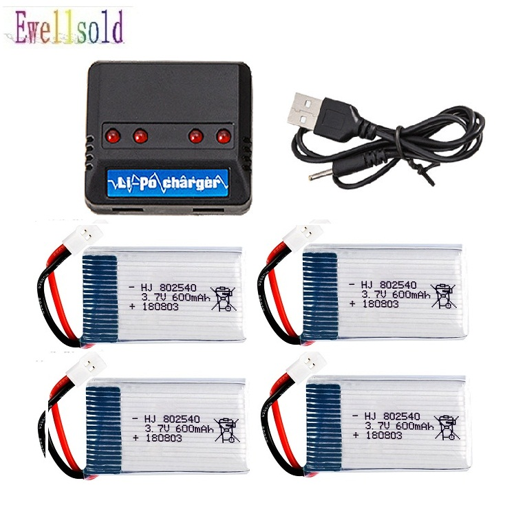 2pc 3pc 4pc <font><b>3.7V</b></font> 600mAh Drone Rechargeable Li-polymer Battery <font><b>802540</b></font> + USB Charger set For X5C X5C-1 X5 H5C Quadcopter image