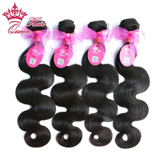 Queen Hair Products Бразильские Волна Девственница Теле Человеческие Волосы 100% 4 шт./лот Необработанные Волосы Могут Быть Окрашены By QueenHair