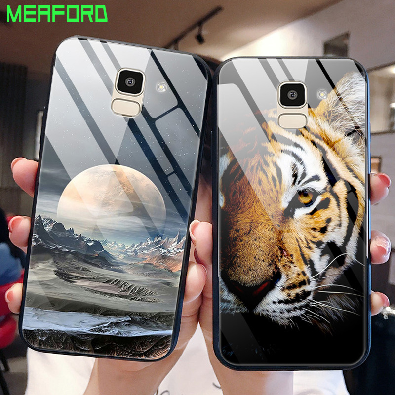 J6 2018 Glass Phone Case For Samsung Galaxy J6 2018 Animal Planet Stars Space Cover For Samsung Galaxy J6 2018 J600 J600F Cover