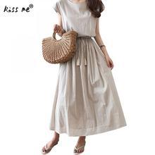 Solid Maxi Dress Summer Beach Long Dress For Women Casual Robe Vintage Short Sleeve Cotton Sundress With Belt Bandage Dress