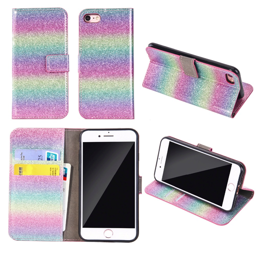 Bling Glitter Colorful Rainbow Wallet Flip Leather <font><b>Case</b></font> For iPhone X 8 7 6 <font><b>6S</b></font> Plus 5S SE <font><b>Samsung</b></font> Galaxy S9/8 Plus S7 <font><b>Edge</b></font> Note 8 image