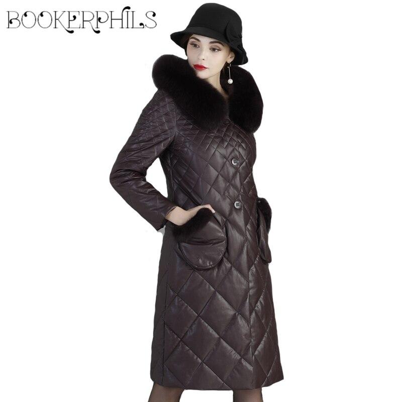 2018 зимние кожаные куртки для женщин; Большие размеры 6XL меховой воротник Зимнее пальто с капюшоном теплые высокое качество кожаная куртка ж...