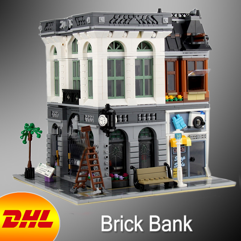 HF City Street Figures 2413Pcs Brick Bank Model Building Kits Blocks Brick Educational Toys For Children Compatible With 10251 loz mini diamond block world famous architecture financial center swfc shangha china city nanoblock model brick educational toys