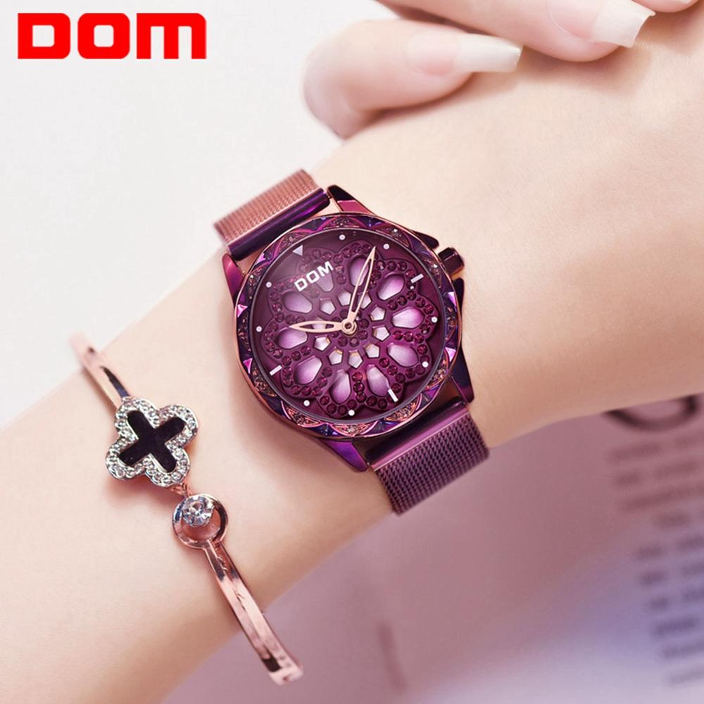 DOM Women Watches Luxury Brand Fashion Quartz Ladies Creative Crystal Watch Dress Women Wrist Watch Elegant Clock G-1257PK-6MS