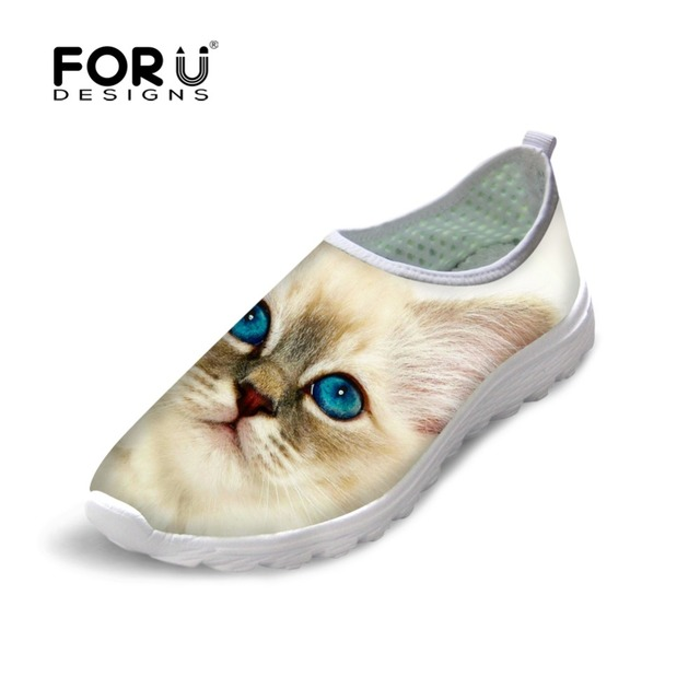 FORUDESIGNS Cute 3D Animal Cat Printed Women Flat Mesh Shoes Teenager Girls Casual Shoes Spring Autumn Sapatilhas Feminina 35-40
