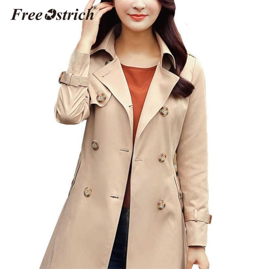 Free Ostrich   Trench   Coat Women 2019 Autumn Winter Mid-long Belt Cloak Polerones Mujer Female Coat S25