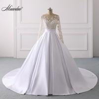 Miaoduo 2019 Satin White Wedding Dresses Ball Gown real photo Long Sleeve Lace beading Wedding Dress vestidos de novia New