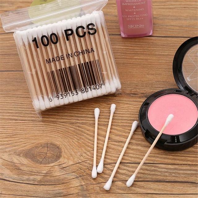 100 unids/pack bastoncillos de algodón de bambú hisopos de algodón para limpieza médica de oídos palillos de madera para maquillaje herramientas de salud tampones Cotonete