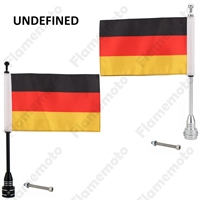 Diamond Plate Motorcycle 8mm Flag Pole Bike Black And Silver Aluminum Mount Germany Flag For Harley