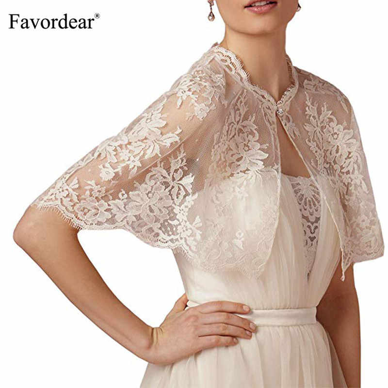 Favordear Lace Shrug Shawl Wrap Bolero Wedding Jacket for Bride