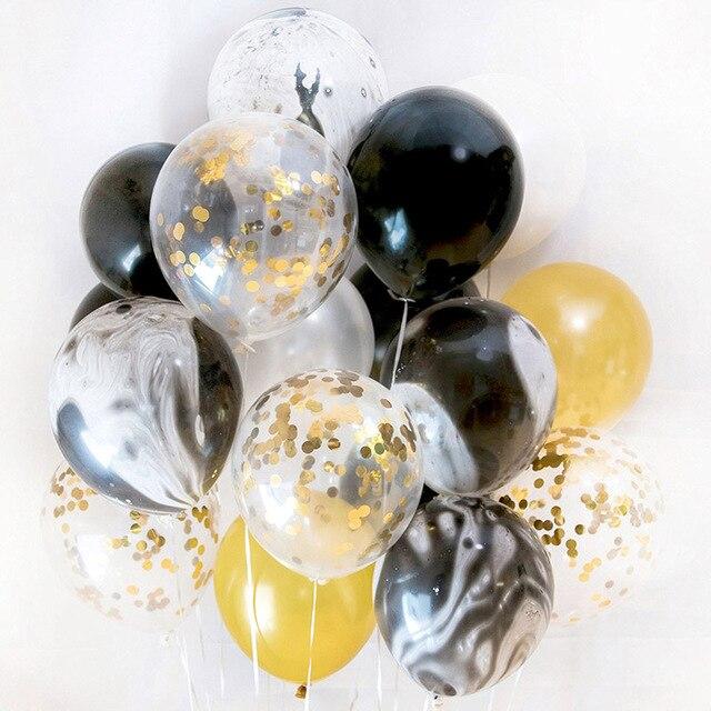Us 36 20 Pz Oro E Nero Partito Decorazioni In Marmo Confetti Palloncini Aria Per La Cerimonia Nuziale Festa Di Compleanno Fotografia Puntelli