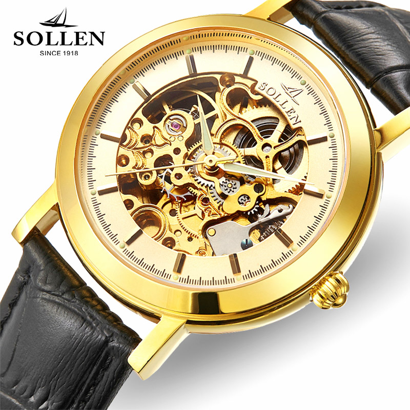 SOLLEN automatic mechanical watch men luxury rome double-sided hollow waterproof wristwatches Leather male Relogio Masculino 601 orkina kc023 double sided hollow automatic mechanical men s wrist watch black silver coppery