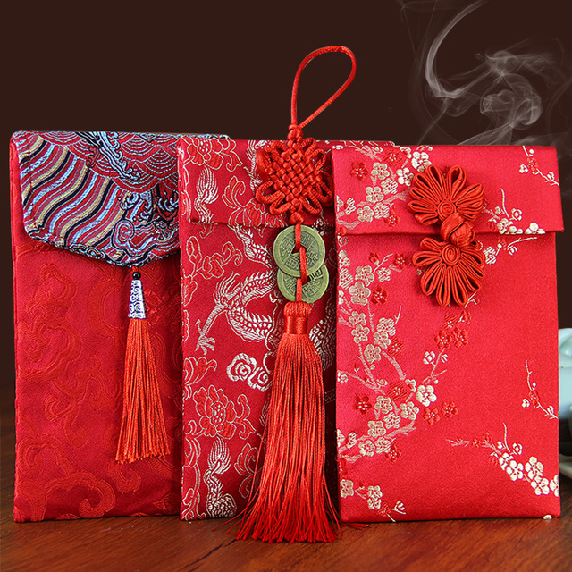Good Quality Chinese Traditional Wedding New Year Red Money Envelope With Tel Cloth Silk Packet