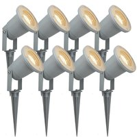 8pcs IP65 85 265V LED Lawn Lamp Spike Outdoor Garden Spot Light 4W GU10 Landscape Yard Pathway Waterproof