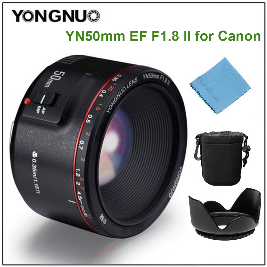 YONGNUO YN50mm F1.8 II Lens fixed focus lens EF 50mm F/1.8 AF/MF lense Large Aperture Auto Focus Lens for Canon DSLR Camera yongnuo yn 50mm lens fixed focus lens ef 50mm f 1 8 af mf lense large aperture auto focus lens for canon dslr camera pouch bag
