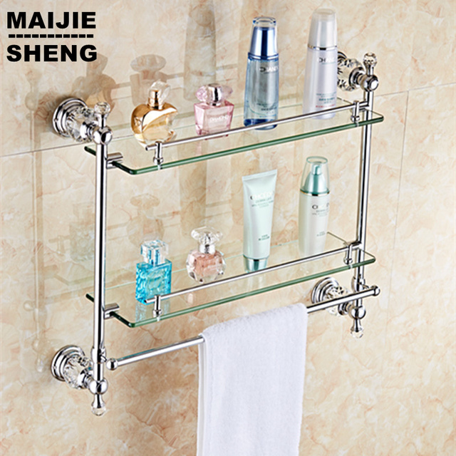 Chrome Crystal Bathroom Shower Glass Shelf Bath Shower Shelf Corner Rack Gold Shower Holder