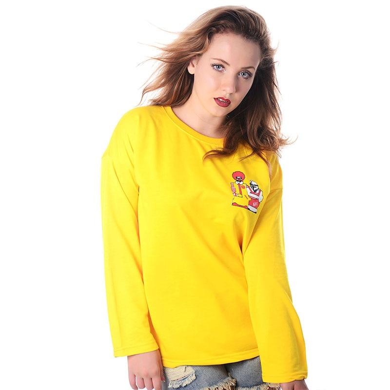 4413bac64 2017 Casual Creative Harajuku Kawaii Cute Loose Long Sleeve t Shirts Women  Yellow T-shirts Camiseta Feminino Funny T Shirts Tees