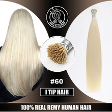 """I Tip Hair Extensions Fusion Keratin Remy Human Russian Hair On Capsule Full Cuticle Platinum Blonde#60 0.8g/s 16""""-22"""" 40g/pack"""
