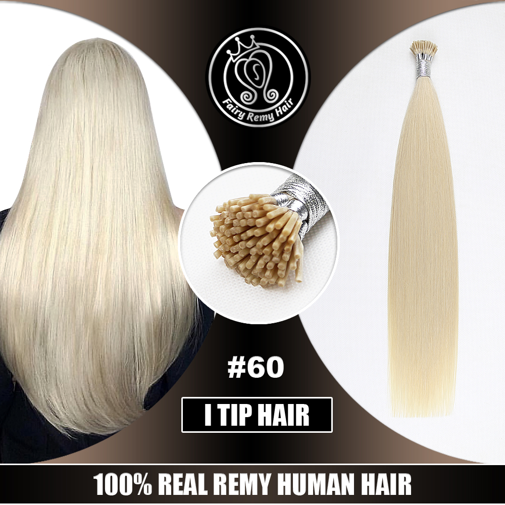 I Tip Hair Extensions Fusion Keratin Remy Human Russian Hair On Capsule Full Cuticle Platinum Blonde #60 0.8g/s 16