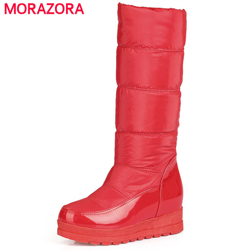 цены  MORAZORA Winter shoes woman fashion comfortable keep warm snow boots platform med heels mid calf boots PU big size 34-43