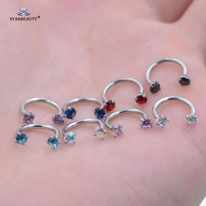 Starbeauty 1 шт. 1,2x8 мм C кольцо с фианитом класса ААА губы спиральные украшения для пирсинга Нос Обруч для женщин серьга для пирсинга хрящевой пирсинг ювелирные изделия