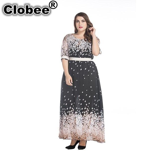 c84c03b56d8 Clobee 2017 Women Summer Chiffon Dress robe chemise Ruffled Sleeve Long  Maxi Dress Plus Size 7XL