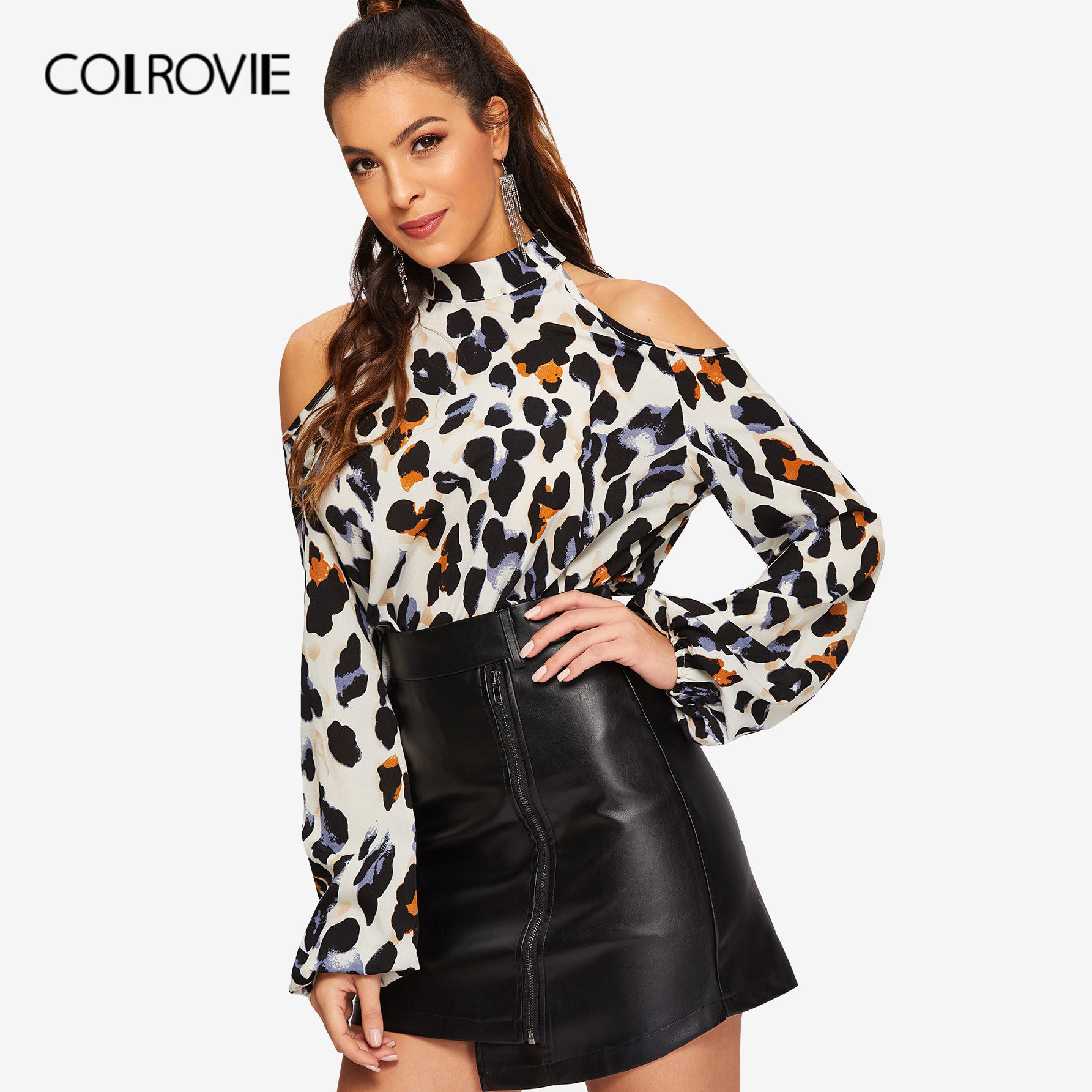 COLROVIE Cold Shoulder Leopard Print Blouse Women Shirts 2019 Spring Korean Fashion Long Sleeve Shirt Elegant Office Ladies Tops blusa sexi animal print