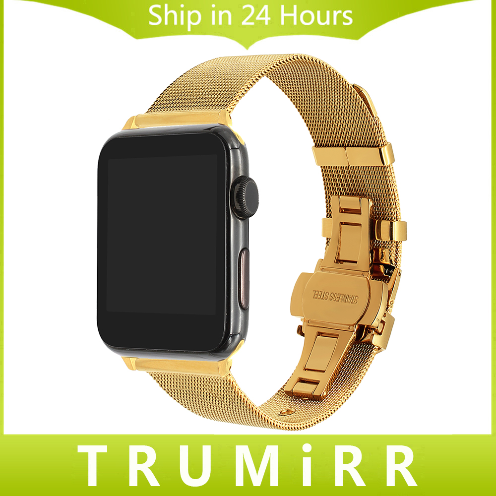 Milanese Loop Watchband for iWatch Apple Watch 38mm 42mm Series 1 2 3 Stainless Steel Band Woven Strap Wrist Belt Bracelet Black woven nylon sports band for apple watch outdoors survival strap belt for 38 42mm iwatch series 1 2 3 men s wrist bracelet i71