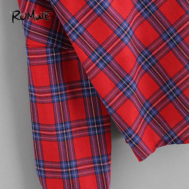 2019 Hombro Túnica Las Abierto Manga Otoño Moda Blouse A Romwe 1 Cuadros De Rojo Camisa 2 Larga Blusa En Cheque Mujeres Botón Top 0qwxvHdA