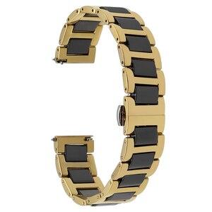Image 2 - Ремешок из керамики и нержавеющей стали для наручных часов, быстросъемный браслет с пряжкой бабочкой Жак Лемана, 12 14 16 18 20 22 мм