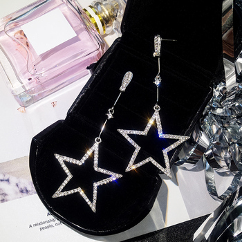 2018 New Fashion Brincos Oorbellen Bijoux Crystal Rhinestone Hollow Five-pointed Star Hanging Earrings Ladies Fashion Jewelry