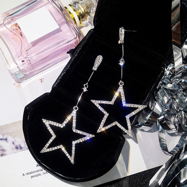 Brincos Crystal Rhinestone Hollow Five-pointed Star Hanging Earrings