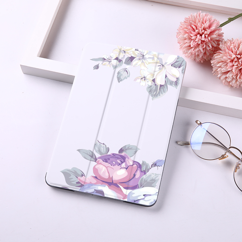DIFFRBEAUTY Cute Floral Pineapple Magnet Flip Cover For Apple iPad 6 Case For iPad Air 2 PU Leather Tablet Folding Folio Case