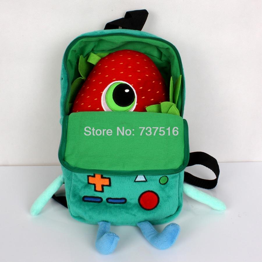 New Adventure Time Plush BMO Beemo 11'' Plush Backpacks & Meatballs 2 10'' Barry Strawberry Stuffed Plush Toys Gift Set Of 2Pcs