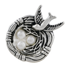 10PCS/LOT wholesale 18-20mm snap button jewelry with pearl 20MM bird sliver Plated KC9895 snaps