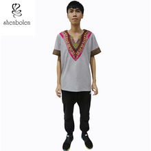 Shenbolen African men clothes Dashiki Wax Fabric Print Shirt Fashion Top