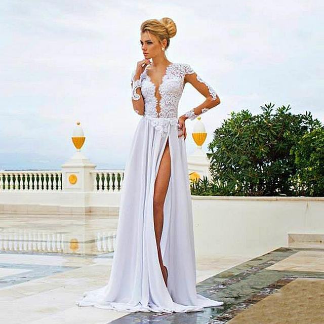 2e4ad4fab1d 2015 Sexy White Evening Gown Elegant Formal Dresses for Women Stunning  Sheer Lace Applique Long Sleeve High Side Slit Backless E