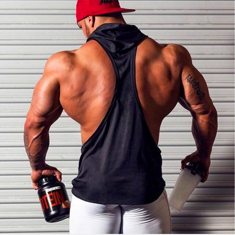 Brand Gym Clothing Fitness Men Cotton Tanktop with hooded Mens Bodybuilding Stringers Tank Tops workout Singlet