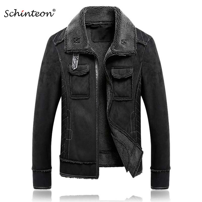 2018 M 5XL Men Suede Leather Jacket Turn down Collar Coat Winter Warm Outwear Pockets Black Over Size-in Jackets from Men's Clothing    1