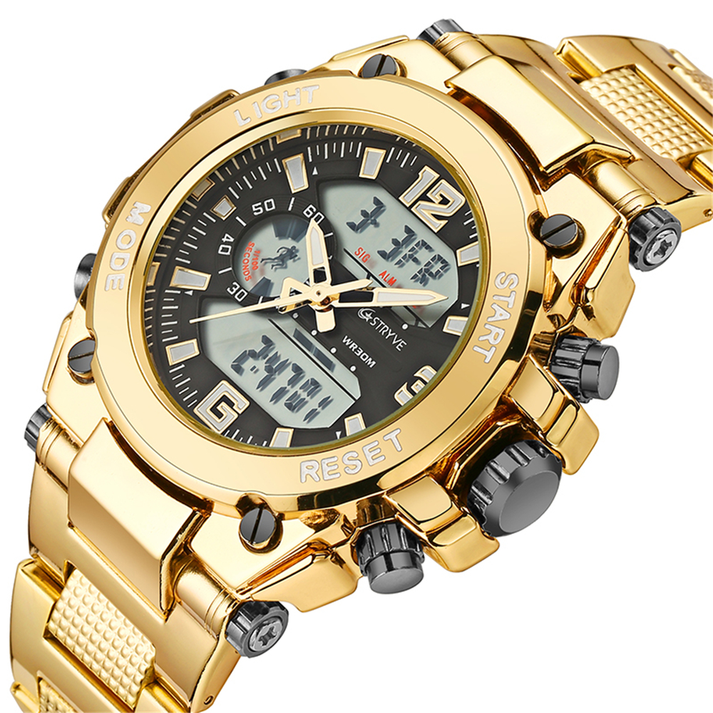 Stryve Brand 8014 Steel Military Wristwatch <font><b>12</b></font>/<font><b>24</b></font> Hour Chrono Clock Waterproof Digital Quartz Sports Mens Watches montre homme image
