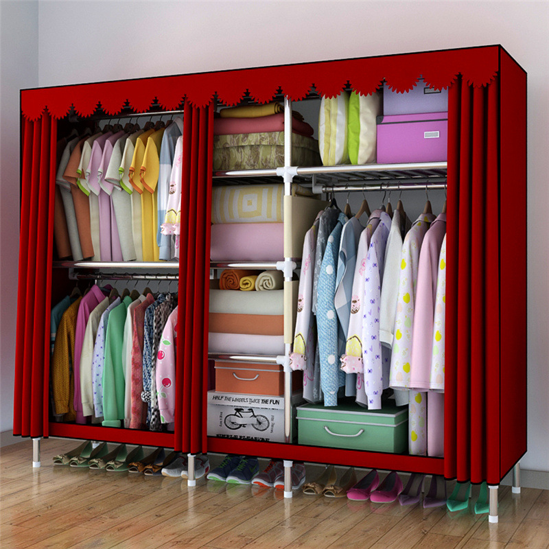LK570 Modern Foldable Wardrobe Large Space Oxford Cloth Closet Storage Rack Strengthening Combination Wardrobe with ZipperLK570 Modern Foldable Wardrobe Large Space Oxford Cloth Closet Storage Rack Strengthening Combination Wardrobe with Zipper