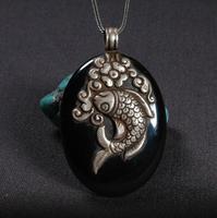 Ручной работы непальская 925 Серебряный кулон Рыба Цепочки и ожерелья 925 пробы удачи кулон в виде рыбы Цепочки и ожерелья богемский кулон Цеп
