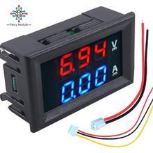 """Мини цифровой вольтметр Амперметр постоянного тока 100 в 10 А Панель Ампер Вольт Напряжение измеритель тока тестер 0,5"""" синий+ красный двойной светодиодный дисплей"""