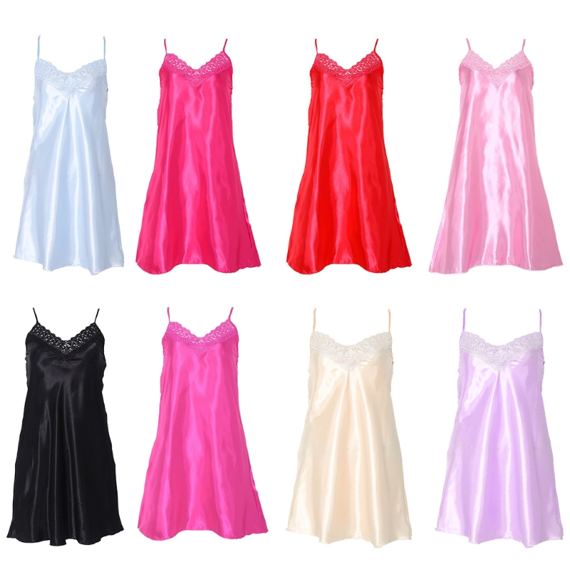 Women Ice Silk Cool Nightgown Pyjamas Sexy V Neck Sleepwear Nightwear
