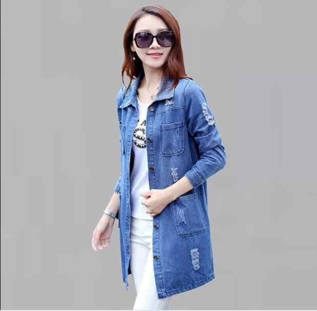 2018 frauen Neue Mode Plus Größe S-5XL Lose Baumwolle Denim Blusen Langarm Jeans Hemd Top Femininas Weiblichen Beiläufigen RQ119