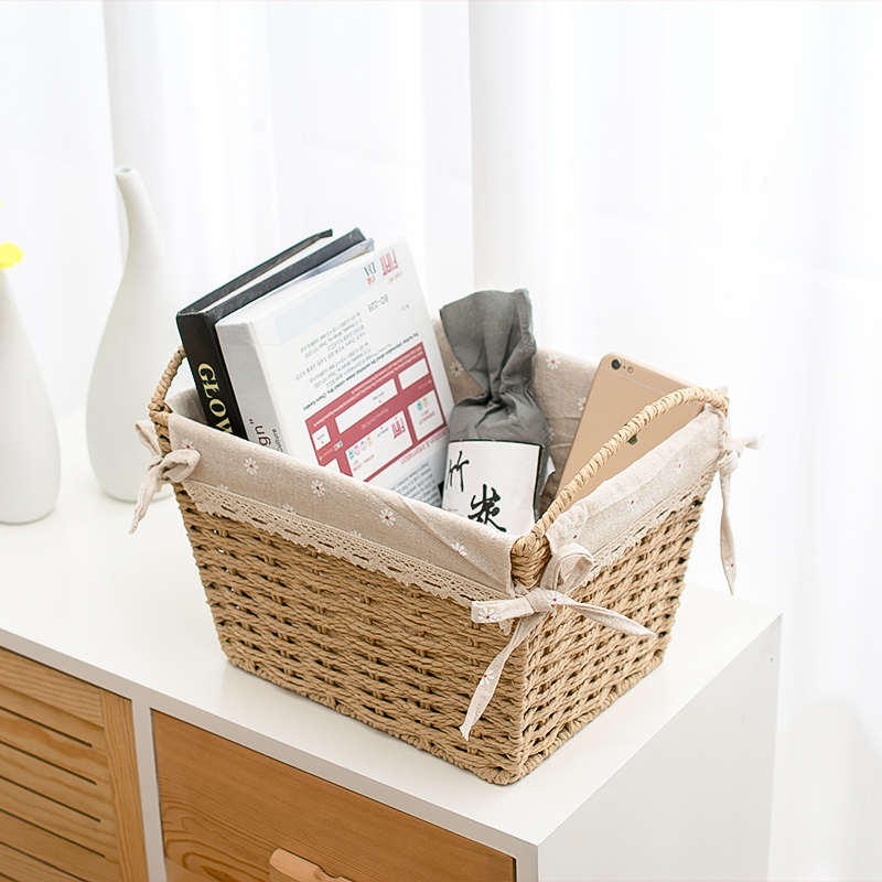 Dirty laundry straw baskets storage with handle Cloth art boxes hand made weaving snack organizing box hand basket in bathroom in Laundry Bags Baskets from Home Garden