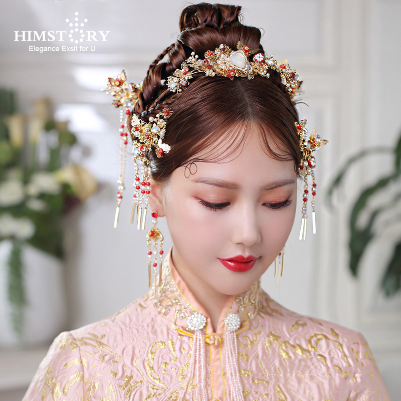HIMSTORY Chinese Handmade Bride Headdress Costume Coronet Tassel Wedding Hair Accessories Vintage Traditional Style Hairwear bride chinese vintage headdress beaded tassel protein hairpins comb crystal hair jewelry vintage wedding hair accessories