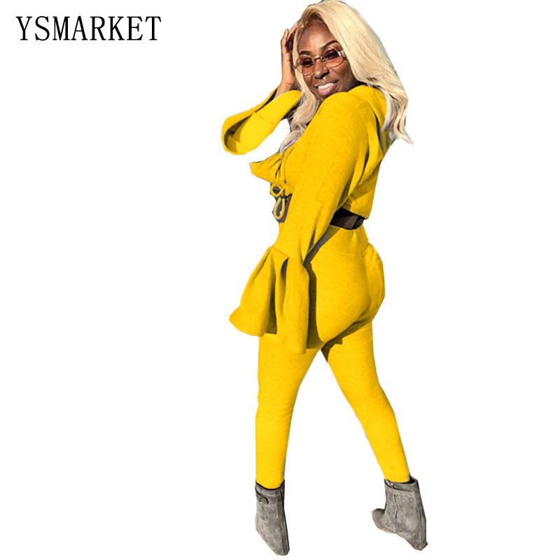 Short Trumpet Sleeve Sweat Suits Casual Women Short Top And Slim Pant Set Two Piece Clothes A1087