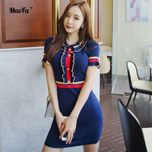 ФОТО summer women dress navy blue knitted dresses patchwor short sleeve slim office lady sexy party bandage bodycon pencil midi dress