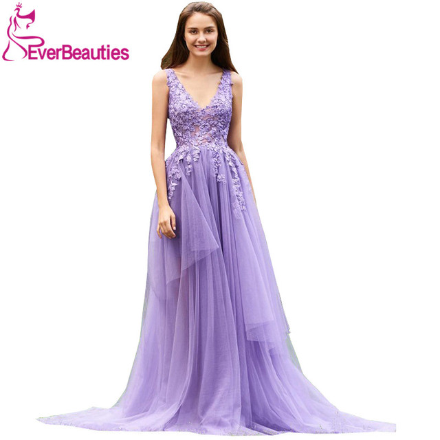 Aliexpress.com : Buy Evening Dresses Long V Neck Tulle Beading ...